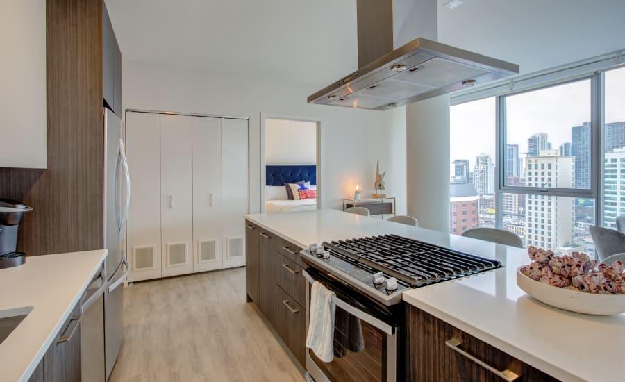 Sleek, modern kitchen at Residences at 8 East Huron in Chicago, Illinois