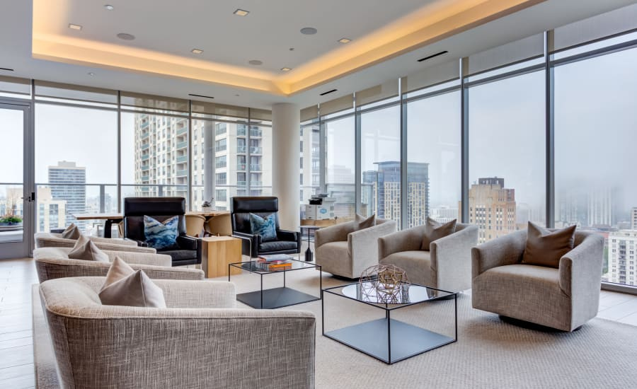 Gorgeous community clubhouse with a view at Residences at 8 East Huron in Chicago, Illinois
