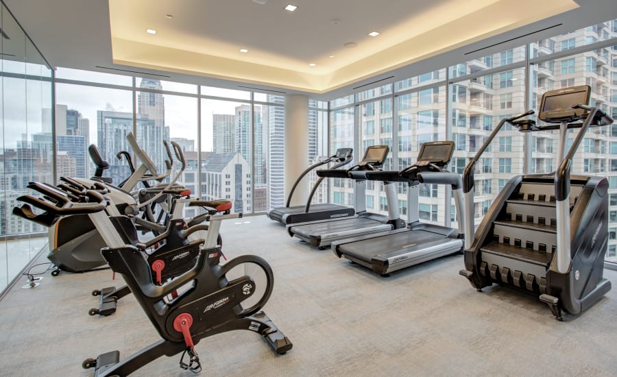State-of-the-art fitness center at Residences at 8 East Huron in Chicago, Illinois