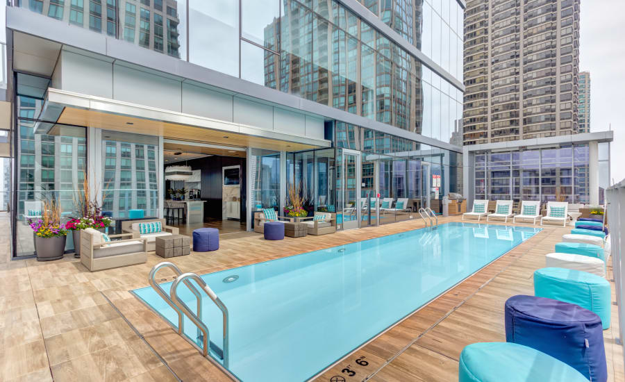 Sparkling resort-style swimming pool at Residences at 8 East Huron in Chicago, Illinois
