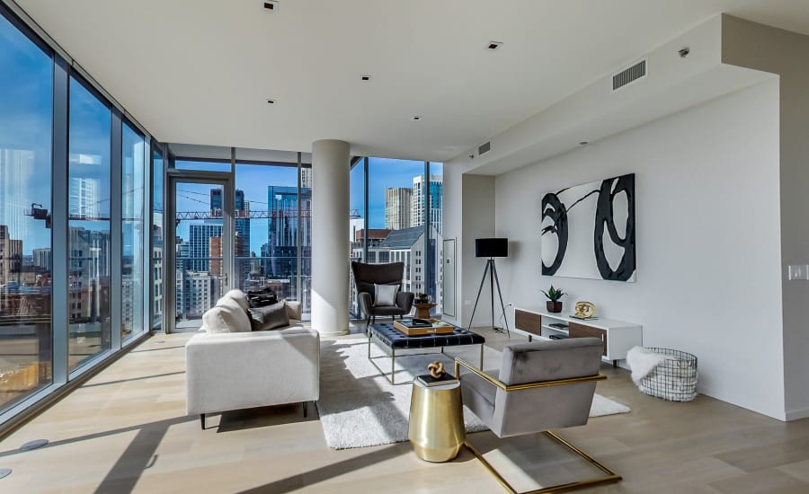 Bright living room at Residences at 8 East Huron in Chicago, Illinois