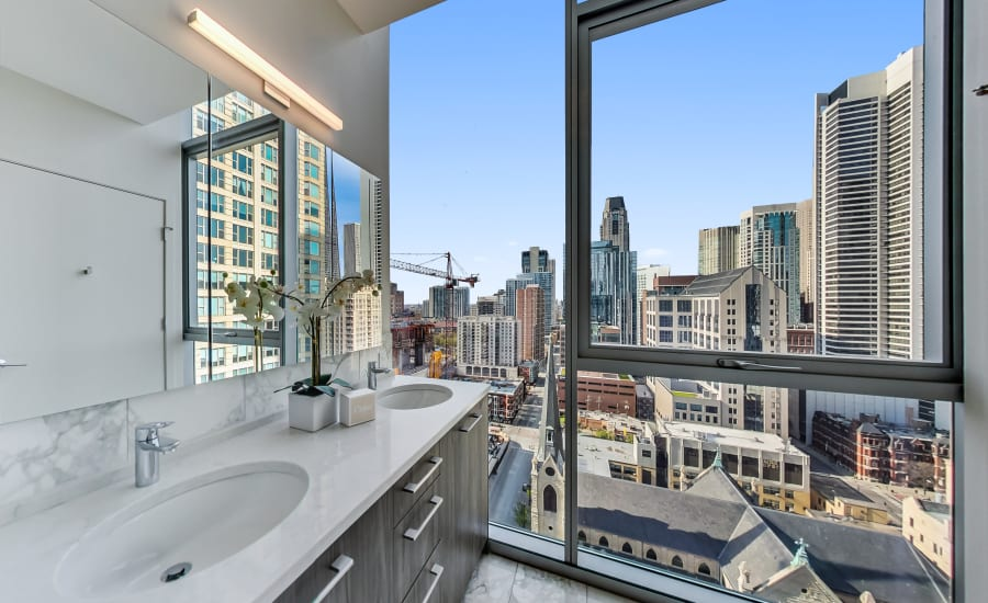 Beautiful Bathroom at Residences at 8 East Huron in Chicago, Illinois