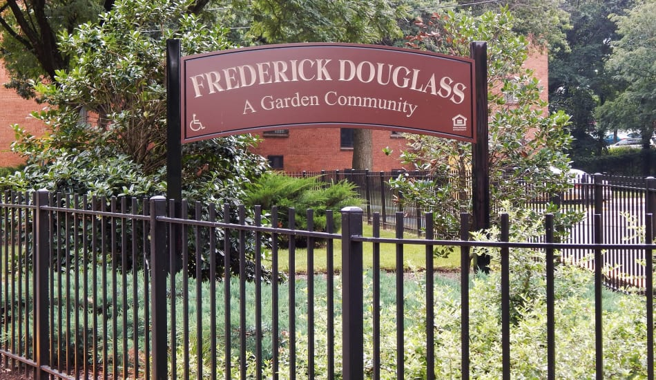 Frederick Douglass Apartments welcome sign