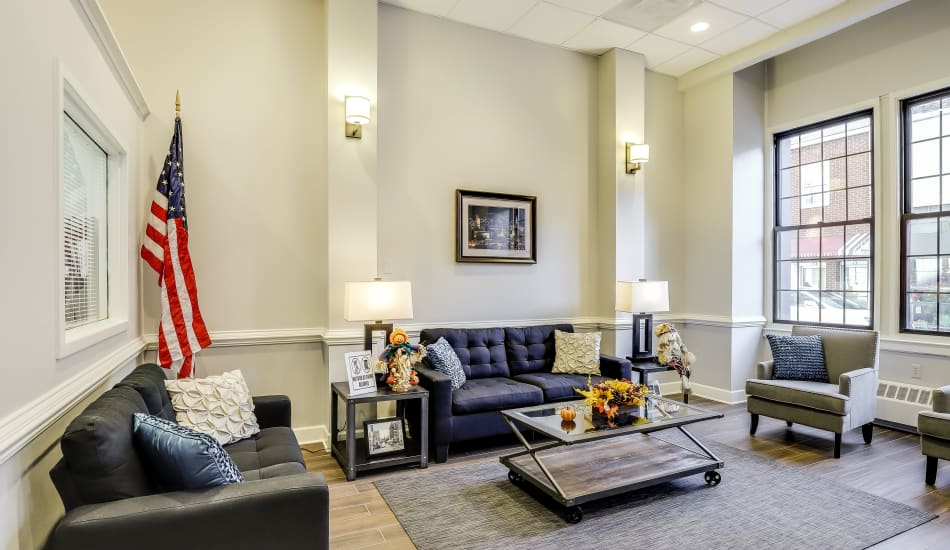 Seating area at Cumberland Arms Apartments