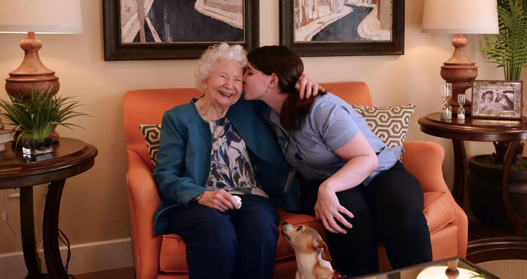 Senior lady and caretaker at Heritage Springs in Las Vegas, Nevada