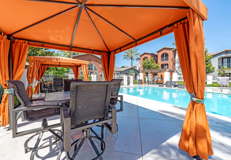 Vista Imperio Apartments in Riverside, California offers poolside seating