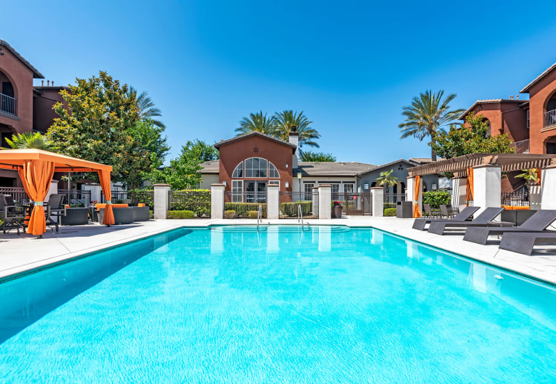 Enjoy the swimming pool at Vista Imperio Apartments in Riverside, California