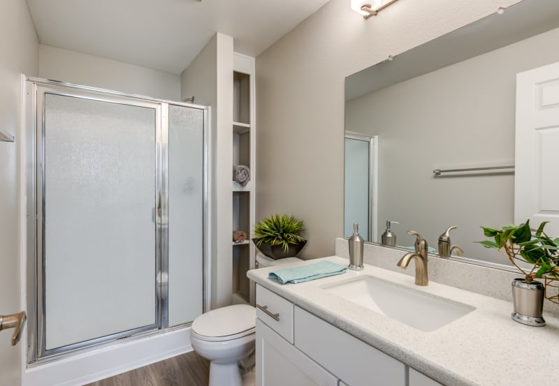 Bathroom at Vista Imperio Apartments in Riverside, California