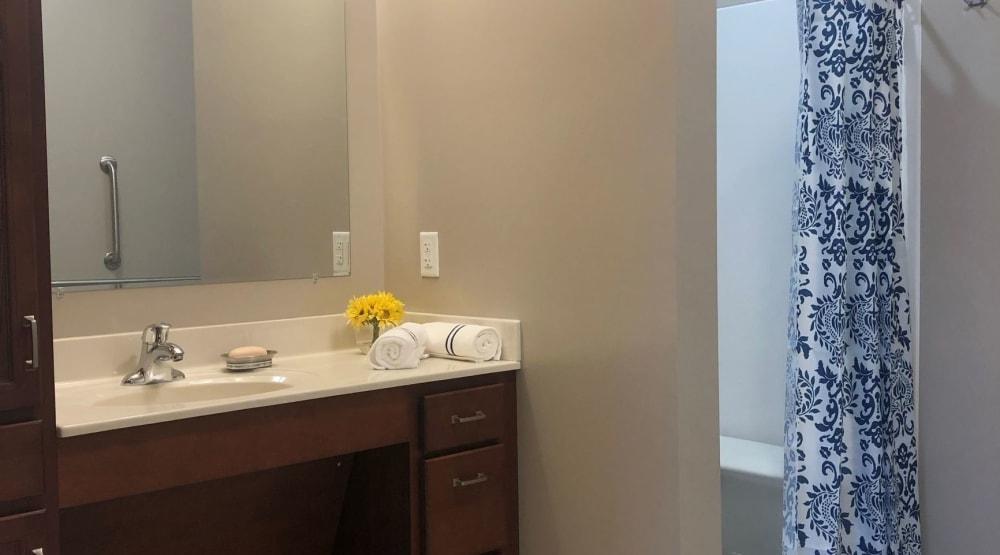 Bathroom inside a senior apartment at Randall Residence of Centerville in Centerville, Ohio