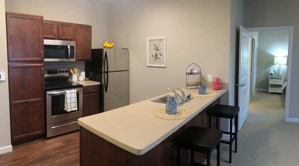 A basic community kitchen inside Randall Residence of Centerville in Centerville, Ohio