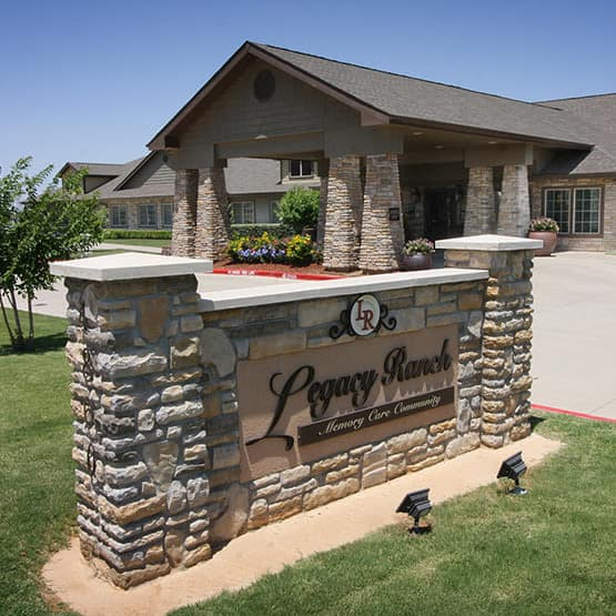 front sign and entry at Legacy Ranch in Midland,TX