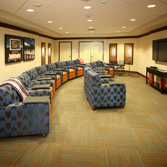 Prairie House Assisted Living and Memory Care in Broken Arrow, Oklahoma offers a theater for residents to enjoy