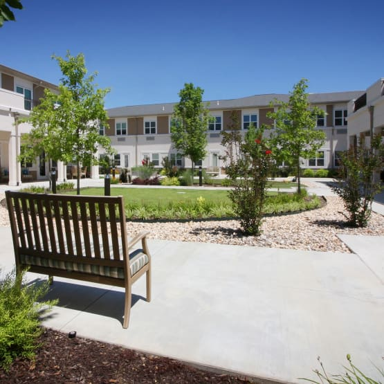Landscaped garden at Prairie House Assisted Living and Memory Care in Broken Arrow, Oklahoma
