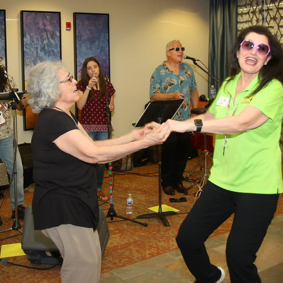 Residents dancing at Prairie House Assisted Living and Memory Care in Broken Arrow, Oklahoma