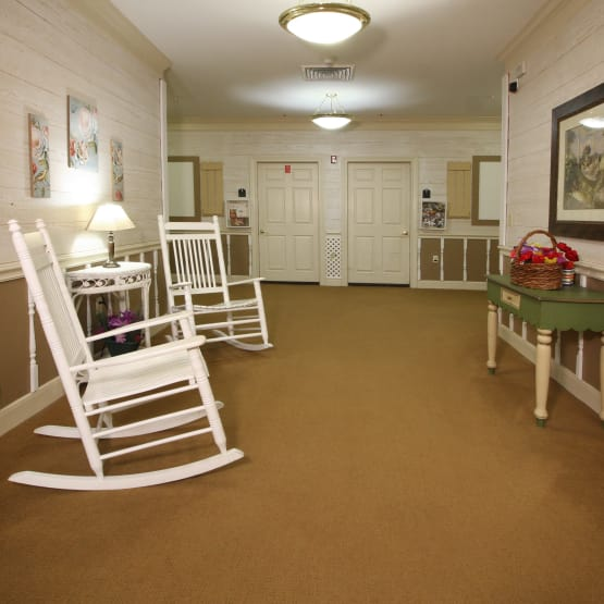 Rocking chairs for our residents at Reunion Court of Kingwood in Kingwood, Texas