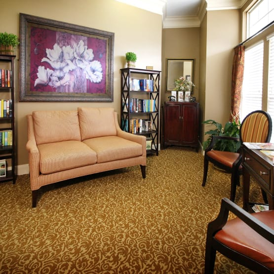 Comfy sofa at Reunion Court of Kingwood in Kingwood, Texas