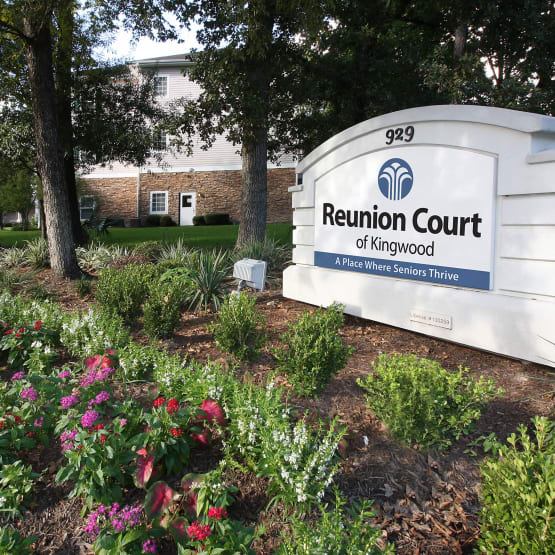 Main sign to Reunion Court of Kingwood in Kingwood, Texas
