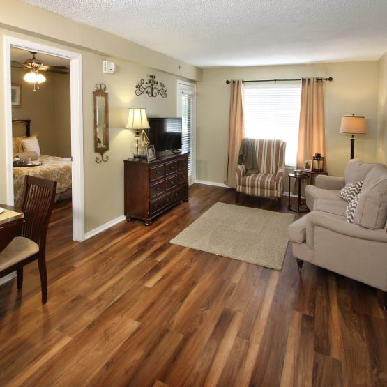 Living room with couches  at West Fork Village in Irving, Texas