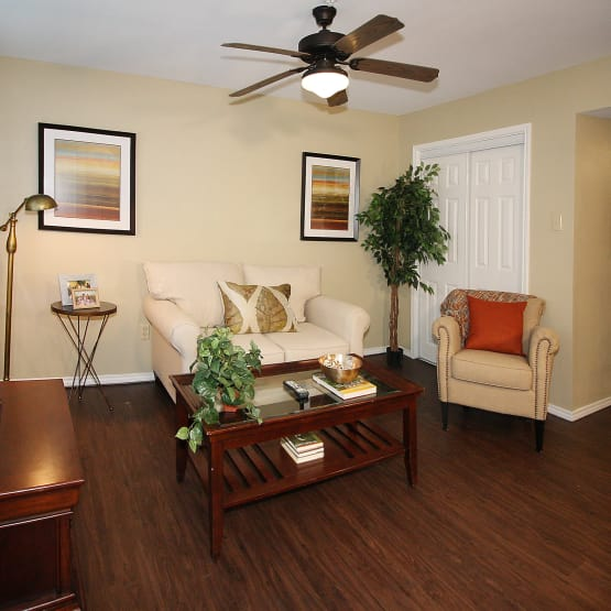 Living room at West Fork Village in Irving, Texas