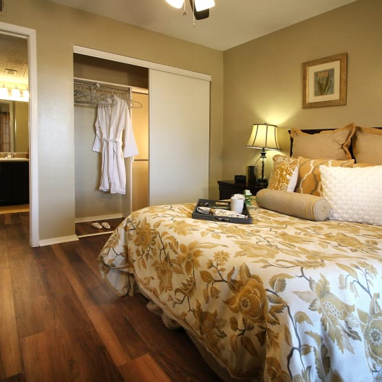 Bedroom with closet at West Fork Village in Irving, Texas