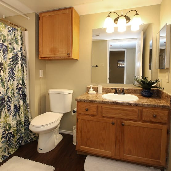 Clean bathroom at West Fork Village in Irving, Texas