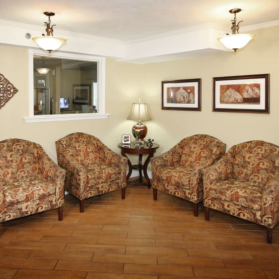 Couches in our common room at West Fork Village in Irving, Texas