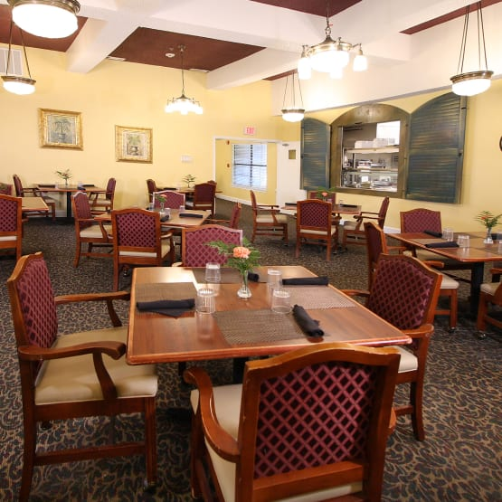 Dining tables at West Fork Village in Irving, Texas