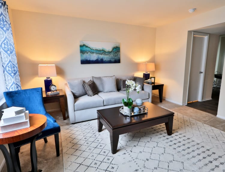 Living room at The Townhomes at Diamond Ridge in Baltimore, Maryland