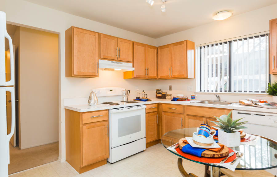 Kitchen at Fairmont Park Apartments in Farmington Hills, Michigan