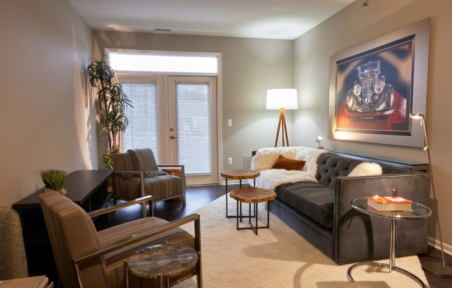 Richly decorated living area in model home at Five Points in Auburn Hills, MI