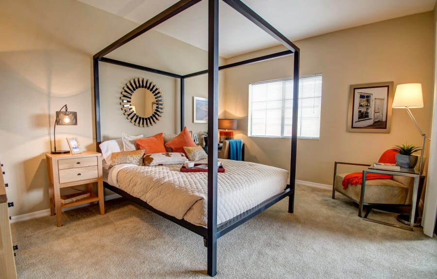 Enjoy a cozy bedroom at Oro Vista Apartments in Oro Valley, Arizona