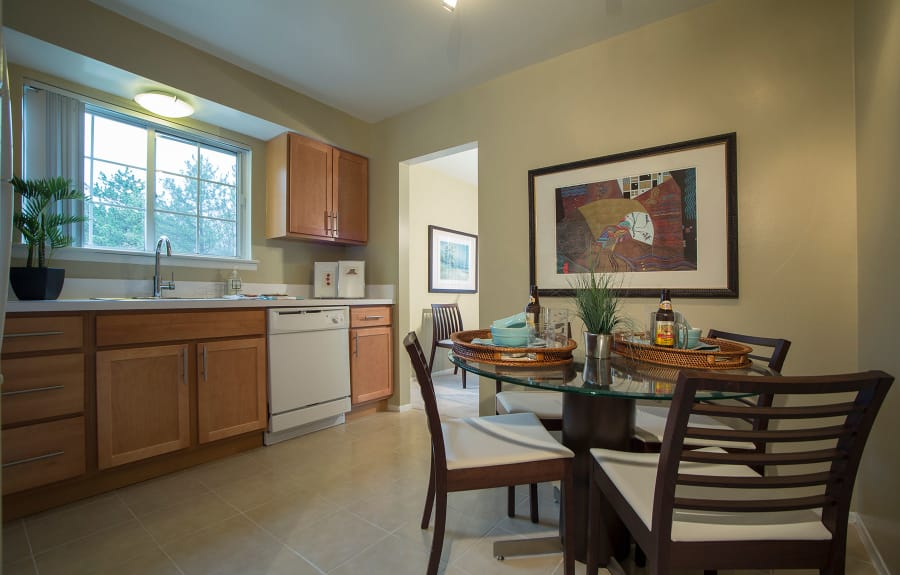 Dining room and kitchen at Aldingbrooke in West Bloomfield, Michigan
