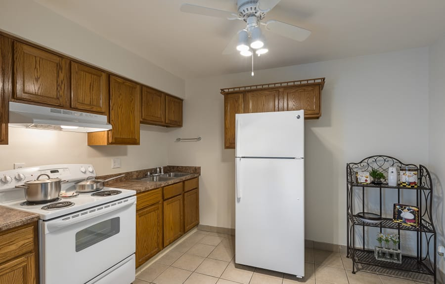 Bright kitchen at Creek Club Apartments in Williamston, Michigan