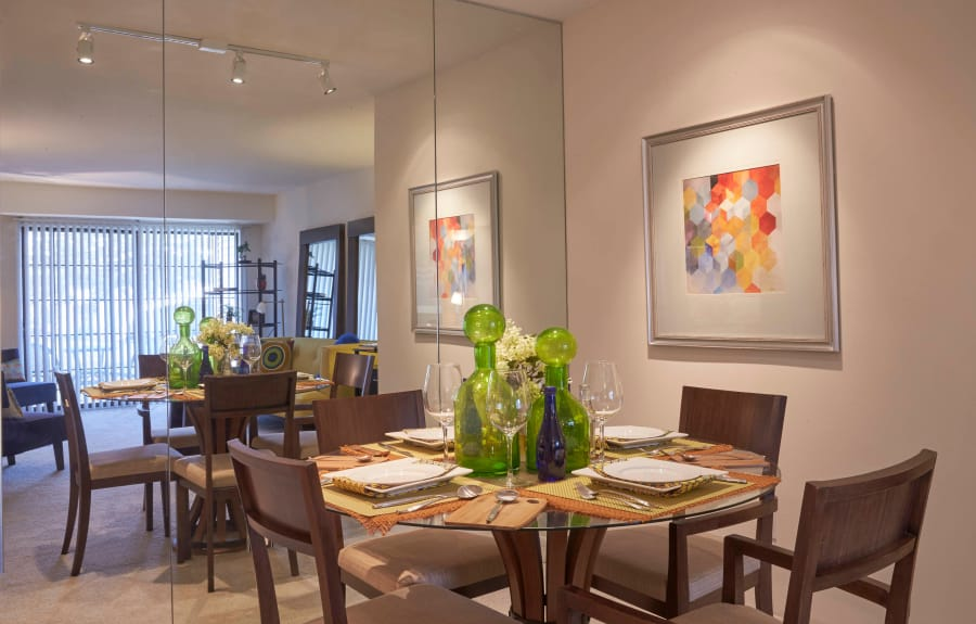 Dining room table in model home at Muirwood in Farmington/Farmington Hills, Michigan