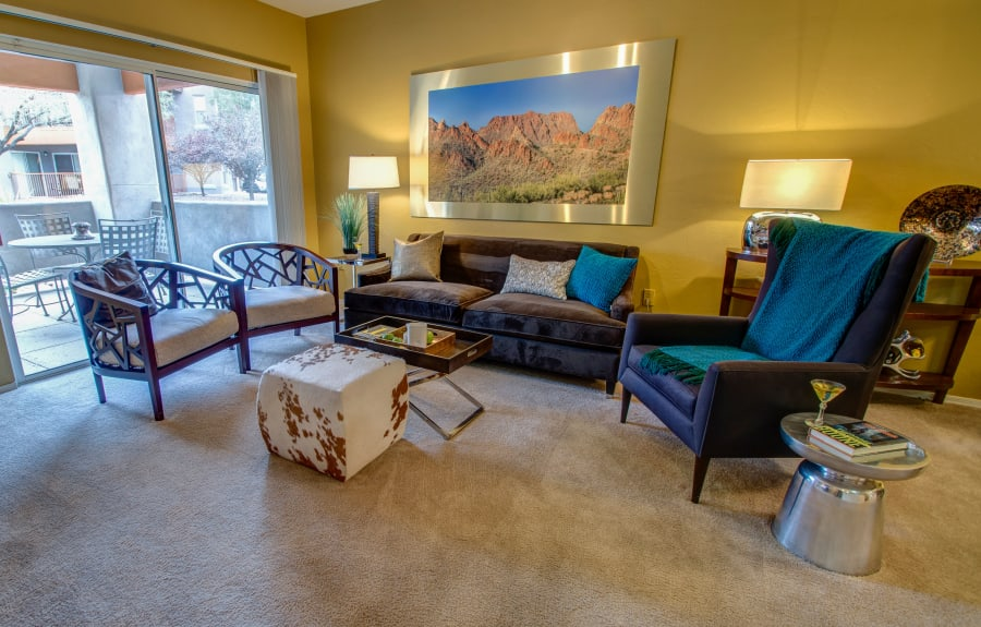 Bright model living room at The Golf Villas at Oro Valley in Tucson, Arizona