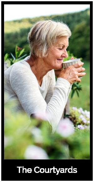 senior woman enjoying a cup of tea outside