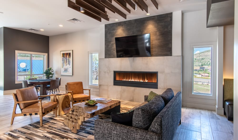 Beautiful communal fireplace at 6 West Apartments in Edwards, Colorado