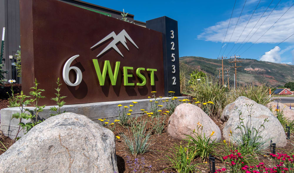 Front sign at 6 West Apartments in Edwards, Colorado