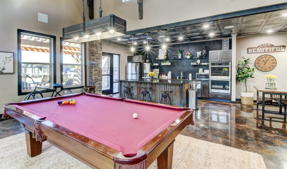 Clubhouse interior pool table at Timnath Trail