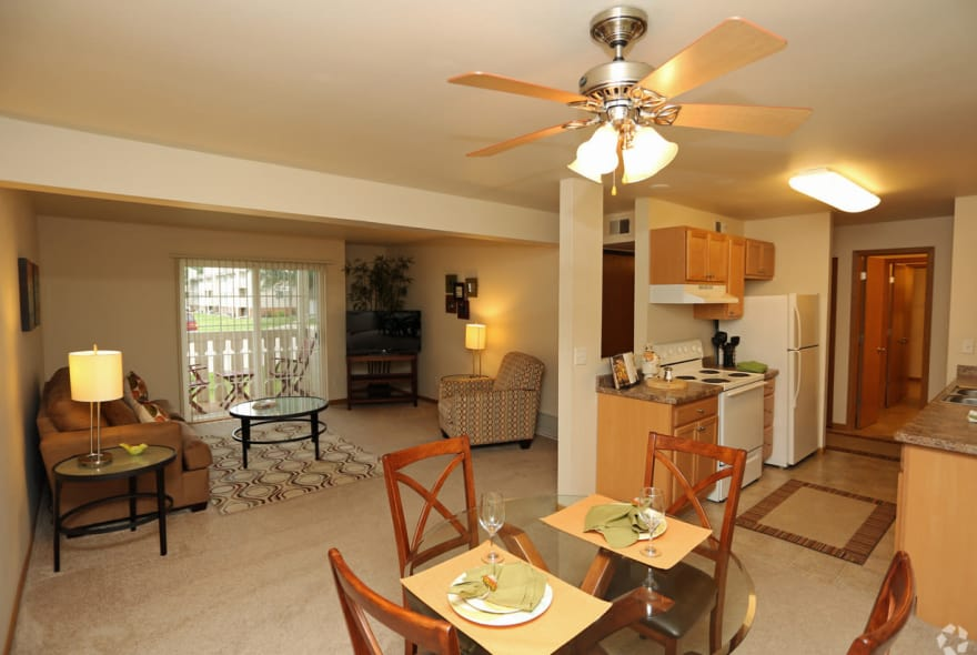 Dining, living room and kitchen at Sun Valley Apartments