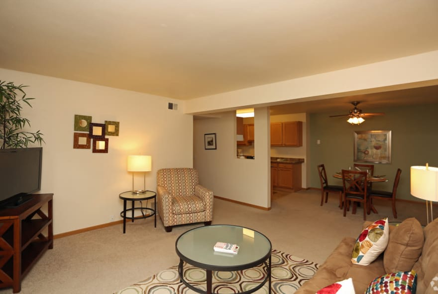 Open living room at Sun Valley Apartments in Fitchburg, WI