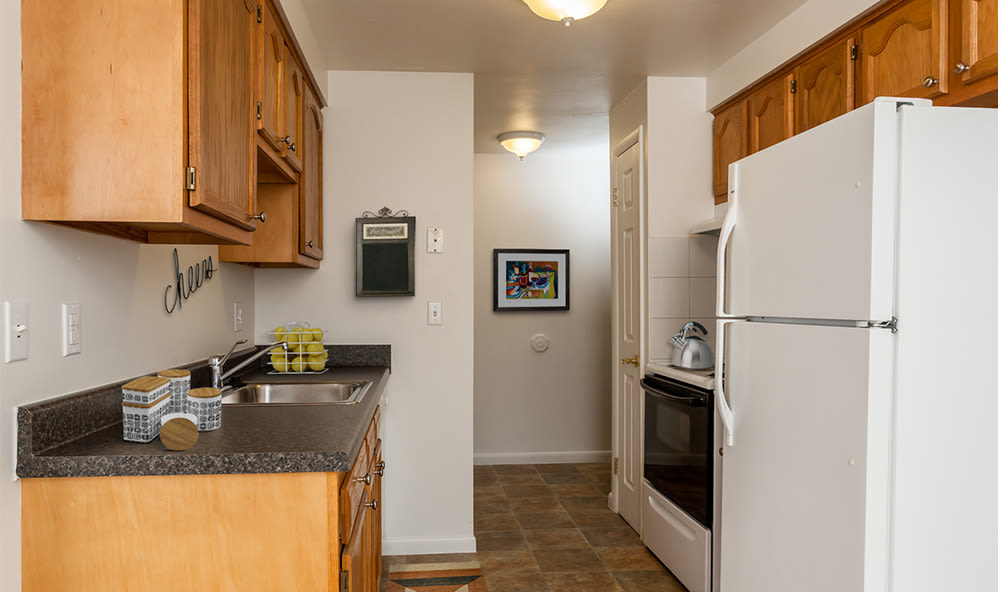 Modern kitchen at East Ridge Manor Apartments in Rochester, New York