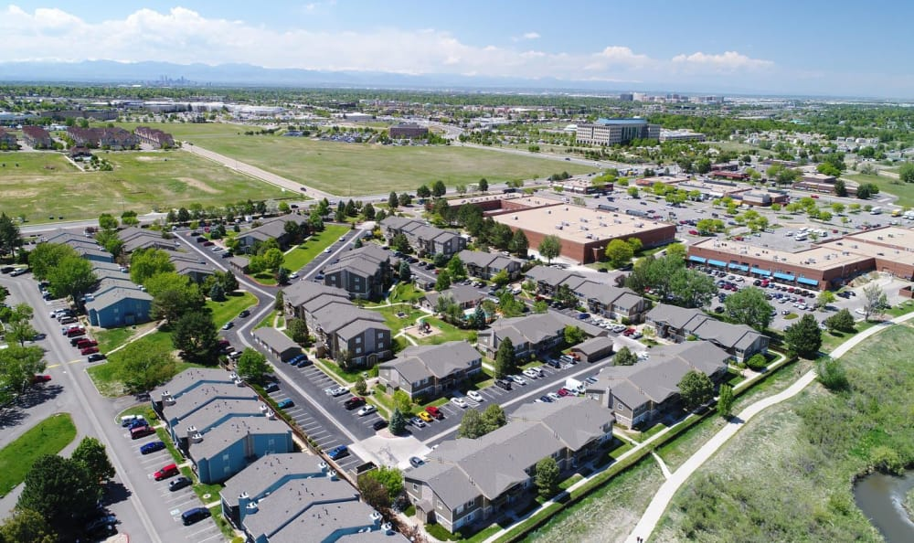 aerial View Of Crossroads at City Center Apartments in Aurora, CO