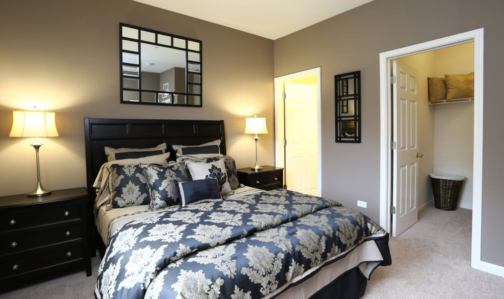 Spacious bedroom in model apartment home at The Preserve at Osprey Lake