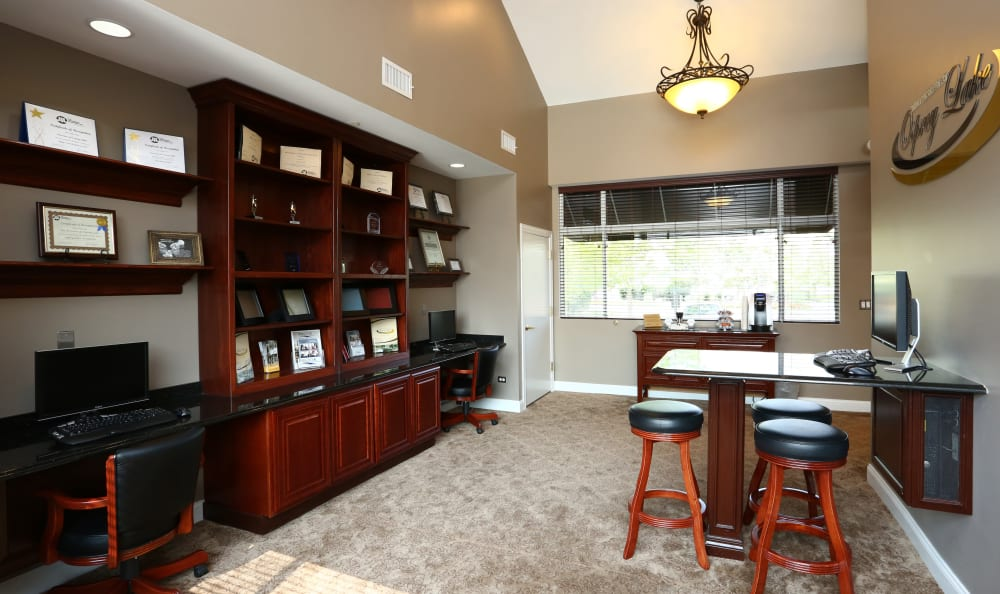 Another interior view of the business center at The Preserve at Osprey Lake in Gurnee