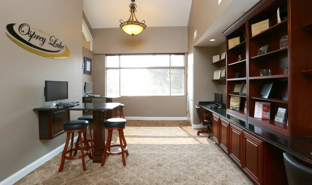 Interior view of our business center, available for resident use, at The Preserve at Osprey Lake