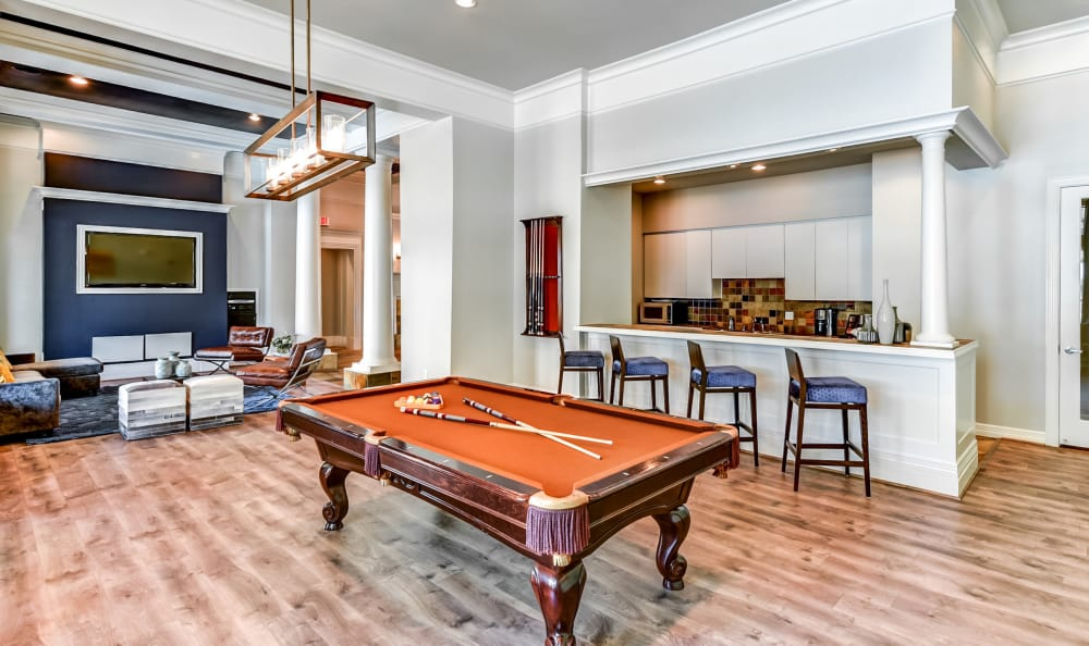 Billiards table in the clubhouse at Abbey at Vista Ridge Apartments