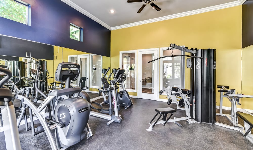 Another interior view of the well-equipped fitness center at Abbey at Vista Ridge Apartments