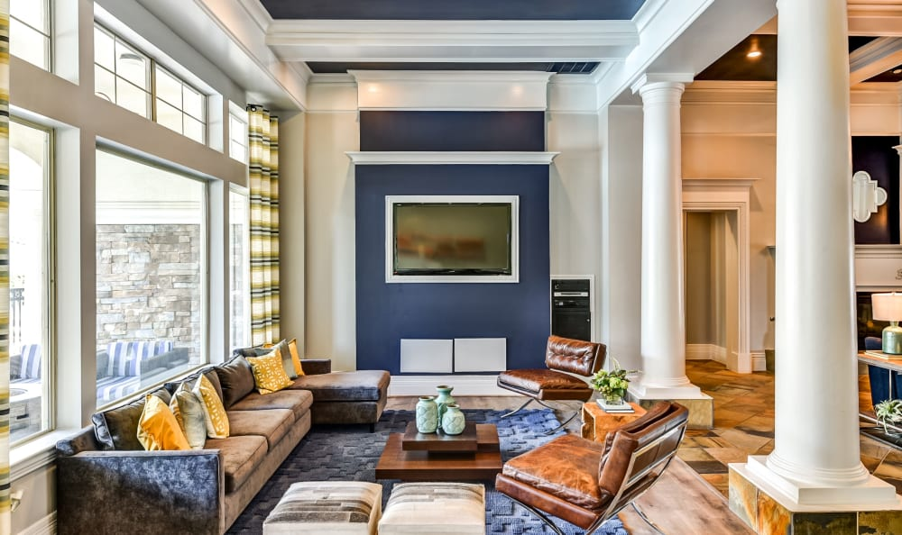 Lavish clubhouse interior at Abbey at Vista Ridge Apartments
