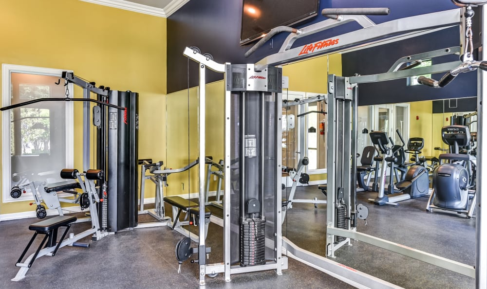 Interior view of the on-site fitness center at Abbey at Vista Ridge Apartments